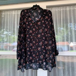 a.n.a Floral Print Long Sleeved baby doll top